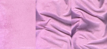 Set of pink suede leather textures. For background Royalty Free Stock Photo