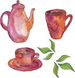 Pink teapot and cups set. Hand drawn watercolor illustration. stock illustration