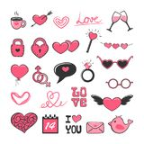 Set of pink Valentine icons Royalty Free Stock Photography