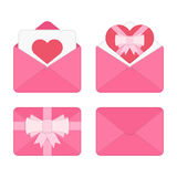 Set of pink valentine romantic envelopes. Valentine day pink envelope set with heart. Valentines Day beautiful greeting letter. Romantic message card in paper Stock Photos
