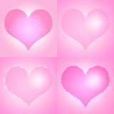 Set of pink Valentine's day hearts Stock Image