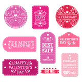 Set of pink Valentine's Day stickers, labels, labels, coupons.Valentine's Day discounts, promotions, offers. Vector Royalty Free Stock Photography
