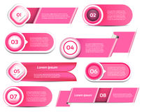 Set of pink vector progress, version, step icons Royalty Free Stock Photography