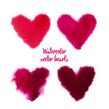 Set of pink vector watercolor hearts. Set of colorful pink watercolor hearts for Valentines day card. Hand drawn watercolor vector illustration. Design by flyer Stock Photos