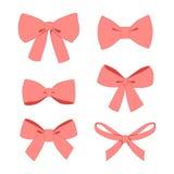 Set of pink vintage gift bows wih ribbons. Royalty Free Stock Photos