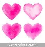 Set of Pink Watercolor Hearts Royalty Free Stock Photos