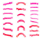 Set of  pink watercolour ribbons. Stock Images