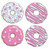 Set of pink and white donuts decorated with hearts. Isolated vector objects. Set of pink and white donuts decorated with hearts. Isolated vector objects on royalty free illustration