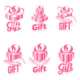 Set of pink and white graphic gift box logo templates Stock Photos