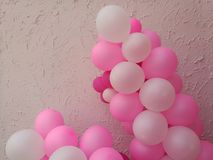 Set of pink, white with helium balloon. Party balloons for event royalty free stock photo