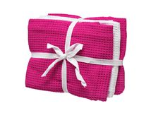 Set of pink and white towels isolated on white background. Close up, high resolution Royalty Free Stock Photography