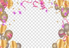 Set of pink, white transparent with confetti helium balloon isolated in the air. Party Vector Illustration stock illustration