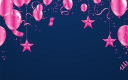 Set of pink, white transparent with confetti helium balloon isolated vector illustration