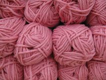 Set of pink wool yarn balls. Stock Images