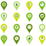 Set of pinpoint icons of bio eco environmental related symbols Royalty Free Stock Photos