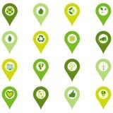 Set of pinpoint icons of bio eco environmental related symbols. Set of sixteen pinpoint icons of bio eco environmental related symbols in four shades of green Royalty Free Stock Photos