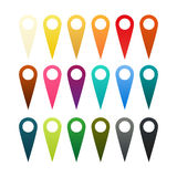 Set of 18 pins. Set of 18 isolated pins in different colors royalty free illustration
