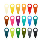 Set of 18 pins. Set of 18 isolated pins in different colors stock illustration