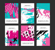 Set pionowo artystyczne kreatywnie niezwykłe karty Ręki Rysować tekstury Inkasowy alegat dla poślubiać, urodziny, przyjęcie ilustracji