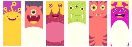 Set pionowo sztandary z ślicznymi potworami ilustracji