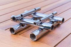 Set of pipe wrenches as construction on table Royalty Free Stock Images