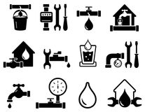 Set of pipeline construction icons for plumber work Royalty Free Stock Photos