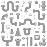 Set of Pipes System Elements. Modern Vector Illustration for Schemes Design Stock Images