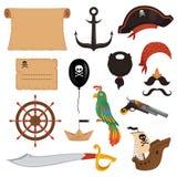 Set piratów atrybuty dla wakacje w kreskówka stylu ilustracja wektor