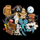 Set of pirate accessories, tools and toys Stock Photography