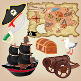 Set of pirate attributes Stock Photos