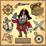 Set of pirate cartoon collection Stock Photography