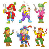 Set of pirate child cartoon Stock Image