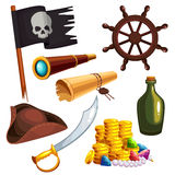 Set of pirate elements Stock Photos