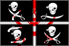 Set of pirate flags Royalty Free Stock Image
