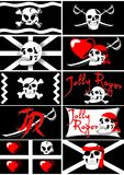 Set of pirate flags. Jolly Roger. 01 (vector) Royalty Free Stock Image