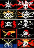 Set of pirate flags. Jolly Roger. 02 (vector) Royalty Free Stock Image