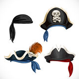 Set of pirate hats and bandana with Jolly Roger Royalty Free Stock Photography