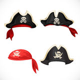 Set of pirate hats and scarf with Jolly Roger Royalty Free Stock Photos