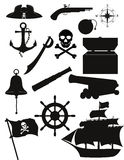 Set of pirate icons black silhouette vector illustration Stock Photography