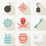 Set of pirate icons. Vector illustration. Flat style Royalty Free Stock Images
