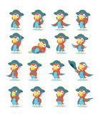 Set of pirate parrot Royalty Free Stock Photos