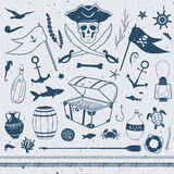 Set of pirate related clip art Stock Image
