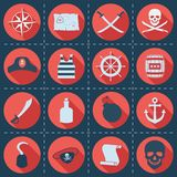Set of pirate or sea icons, vector illustration. Long shadow Royalty Free Stock Photos