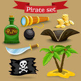 Set with pirate simbols Royalty Free Stock Photography