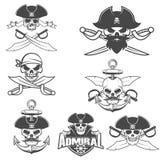 Set of pirate skulls. Stock Photos