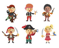 Set of pirates. Cartoon pirate icon set flat cartoon vector illu Royalty Free Stock Image