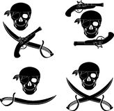 Set of pirates skulls Royalty Free Stock Photography
