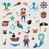 Set of Pirates vector cartoon stickers. Adventures and Pirate party sticker for Kindergarten. Children Adventure. Treasure, pirates, octopus, whale, ship Stock Photography
