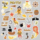 Set of Pirates vector cartoon stickers. Adventures and Pirate party sticker for Kindergarten. Children Adventure. Treasure, pirates, octopus, whale, ship Stock Images