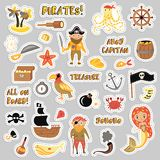 Set of Pirates vector cartoon stickers. Adventures and Pirate party sticker for Kindergarten. Children Adventure. Treasure, pirates, octopus, whale, ship Royalty Free Stock Image
